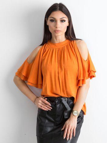 Pomarańczowa bluzka z wycięciami na ramionach