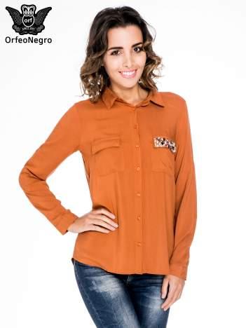 Pomarańczowa koszula z biżuteryjną kieszonką