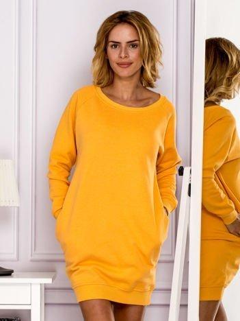 Pomarańczowa ocieplana dresowa tunika