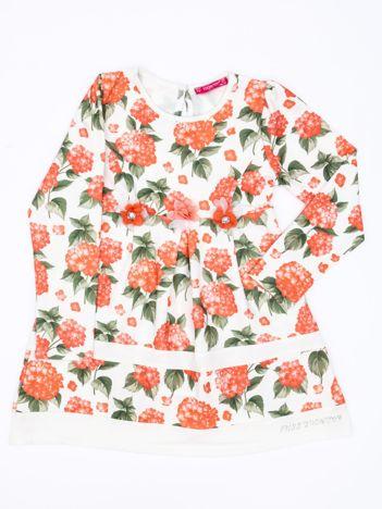 Pomarańczowa sukienka dla dziewczynki w kwiaty z tiulową aplikacją