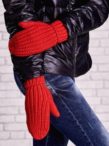 Pomarańczowe proste rękawiczki na jeden palec z grubej wełny