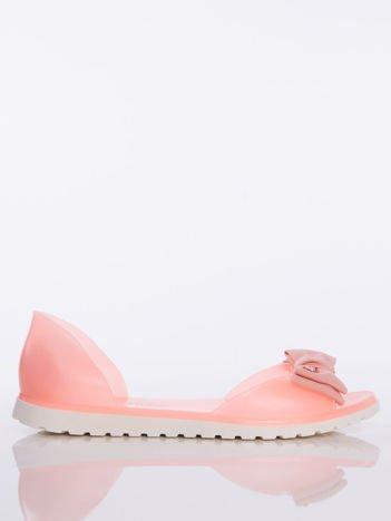 Pomarańczowe sandały Melisy z materiałową kokardką z przodu buta bez palców