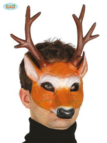 Pomarańczowo-brązowa gumowa maska Jeleń z rogami