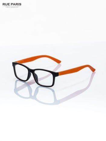 Pomarańczowo-czarne okulary zerówki kujonki typu WAYFARER NERDY matowe