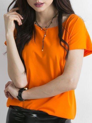 Pomarańczowy gładki t-shirt