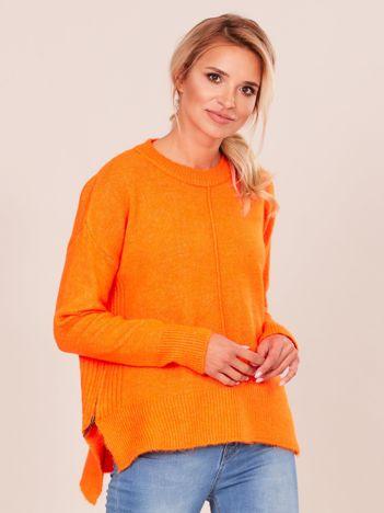 Pomarańczowy sweter z dłuższym tyłem