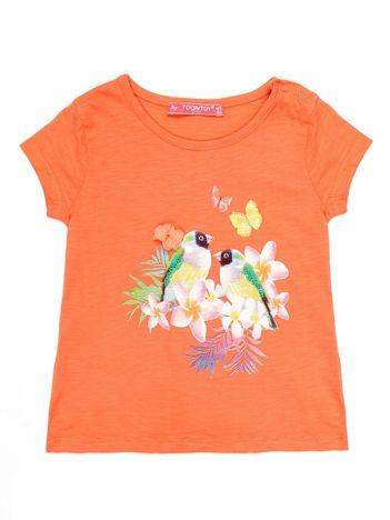 Pomarańczowy t-shirt dla dziewczynki z egzotycznym nadrukiem i cekinami