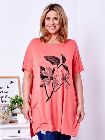Pomarańczowy t-shirt z kwiatem  PLUS SIZE