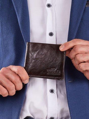 Poziomy męski portfel brązowy