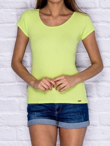 Prążkowany t-shirt lace up limonkowy