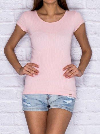 Prążkowany t-shirt lace up różowy
