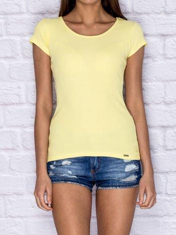 Prążkowany t-shirt lace up żółty