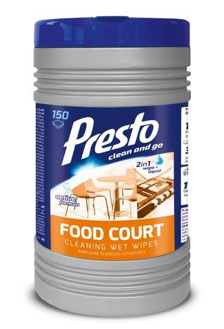 Presto Nawilżane Ściereczki czyszczące 2w1 Food Court 1op - 150szt  (puszka)
