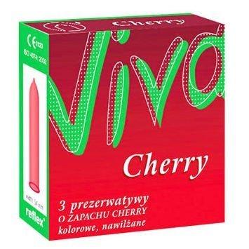 Prezerwatywy Viva Cherry 3 szt. Czerwone prezerwatywy o smaku wiśni