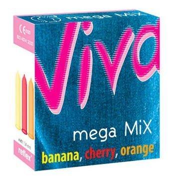 Prezerwatywy Viva Mega Mix o smaku 3 owoców: banana, wiśni, pomarańczy