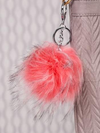 Puchaty brelok do kluczy,zawieszka do torebki malinowy róż + czerń (podwójne zapięcie kółko+ karabińczyk)