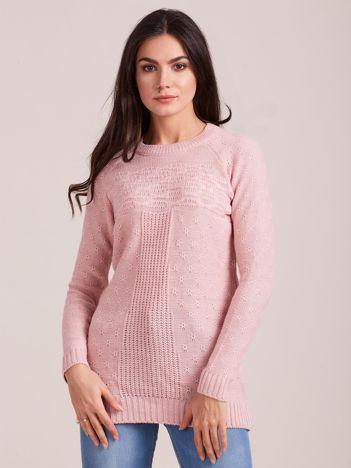 Pudroworóżowy sweter damski