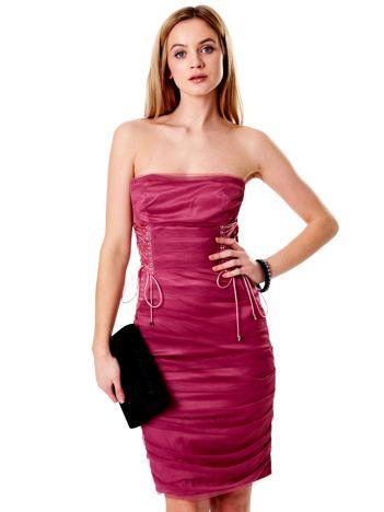 85763e8d65 Purpurowa sznurowana sukienka
