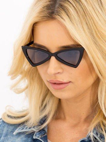 RETRO CAT EYE Czarne damskie okulary przeciwsłoneczne KOCIE OCZY