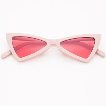 RETRO CAT EYE Pudrowe damskie okulary przeciwsłoneczne KOCIE OCZY