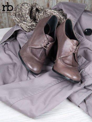 ROCCOBAROCCO Brązowe wiązane botki genuine leather skórzane oxfordki
