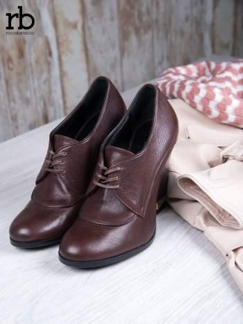 ROCCOBAROCCO Brązowe wiązane botki true leather skórzane oxfordki