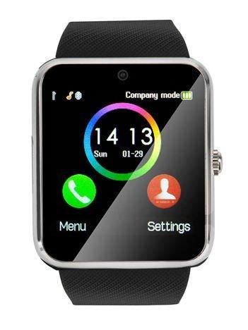 RONEBERG Smartwatch RG08 Współpracuje z Android oraz iOS Powiadomienia Połączenia Krokomierz Monitor snu Czarno-srebrny