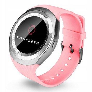 RONEBERG Smartwatch RY1 Funkcje sportowe Kontrola stanu zdrowia Pulsometr Ciśnieniomierz Oksymetr Powiadomienia Długi czas działania Różowy