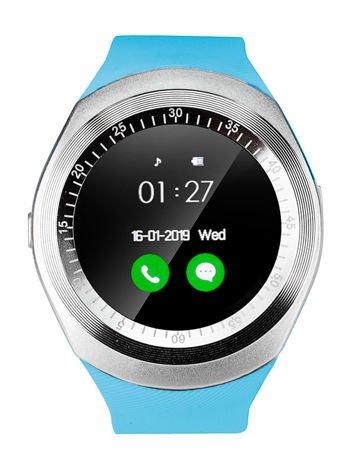 RONEBERG Smartwatch RY1 Współpracuje z Android oraz iOS Powiadomienia Połączenia Krokomierz Błękitny