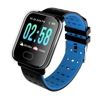 RONEBERG Smartwatch Smartband RA6 Pulsometr Ciśnieniomierz Oksymetr Powiadomienia Długi czas działania niebiesko-czarny