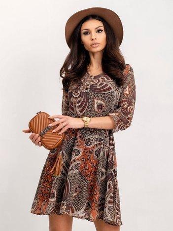 RUE PARIS Brązowo-beżowa sukienka Smile