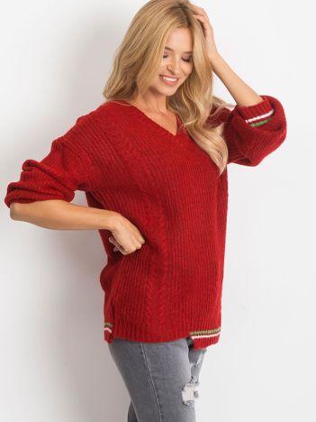 RUE PARIS Ciemnoczerwony sweter Romance