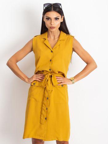 RUE PARIS Ciemnożółta sukienka Hive