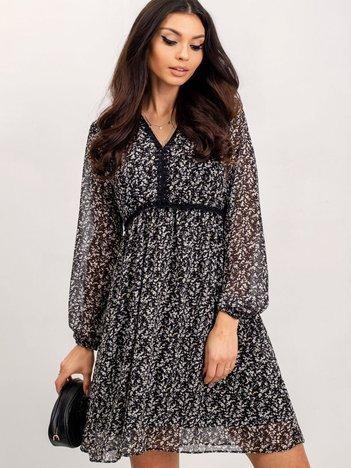 RUE PARIS Czarno-ecru sukienka Weaver