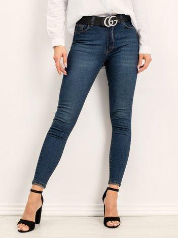 RUE PARIS Granatowe jeansy Hummy