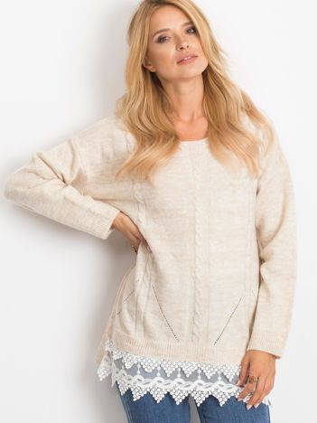 RUE PARIS Jasnobeżowy sweter World