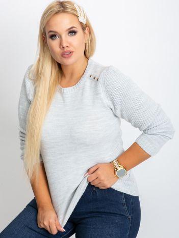 RUE PARIS Jasnoszary sweter plus size Queen