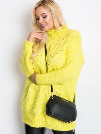 RUE PARIS Limonkowy sweter plus size Bridge