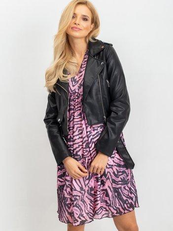 RUE PARIS Różowo-czarna sukienka Tiger