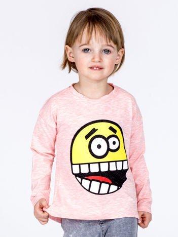 Różowa bawełniana bluzka dziecięca z zabawną emotikonką