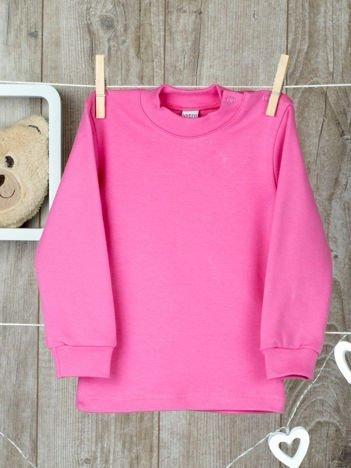 Różowa  bawełniana klasyczna bluzeczka niemowlęca z półgolfem  dla  dziewczynki