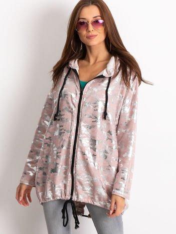 Różowa bluza z kapturem ze srebrnym połyskiem