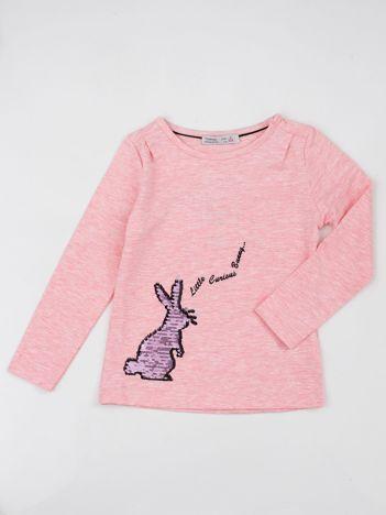 Różowa bluzka dla dziewczynki z aplikacją