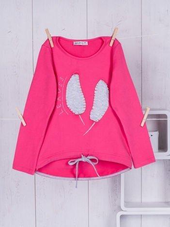 Różowa bluzka dla dziewczynki z listkami