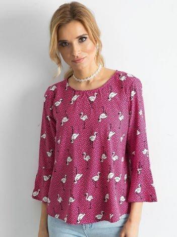 Różowa bluzka w groszki i flamingi