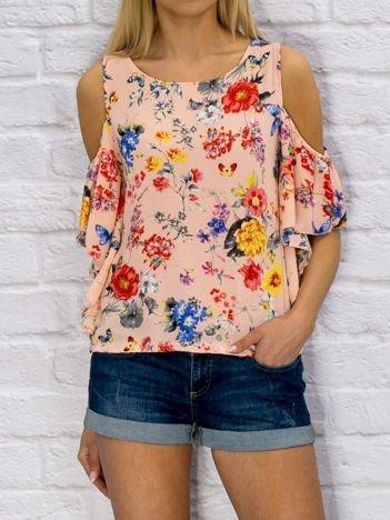 Różowa bluzka w kolorowe kwiaty