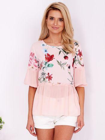 Różowa bluzka w kwiaty z szyfonowym dołem
