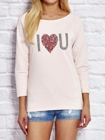 Różowa bluzka z aplikacją serca