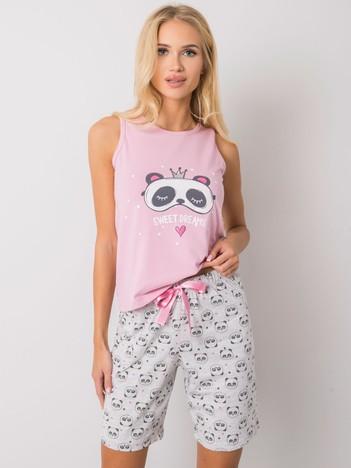 Różowa damska piżama dwuczęściowa