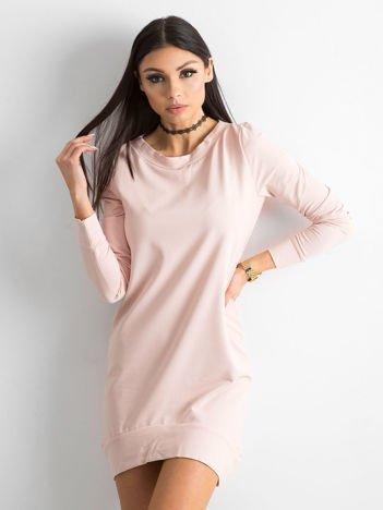 Różowa dresowa tunika basic